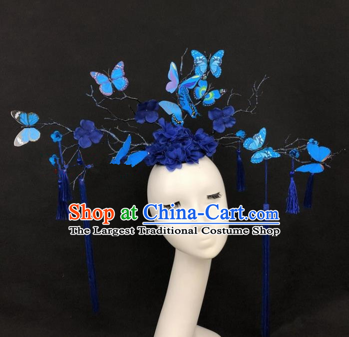 Top Grade Catwalks Hair Accessories Halloween Brazilian Carnival Blue Butterfly Headdress for Kids
