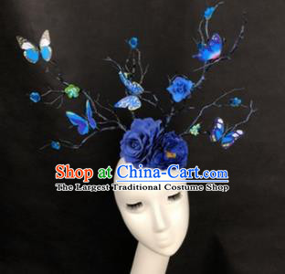 Top Grade Catwalks Hair Accessories Halloween Brazilian Carnival Blue Flowers Butterfly Headdress for Kids