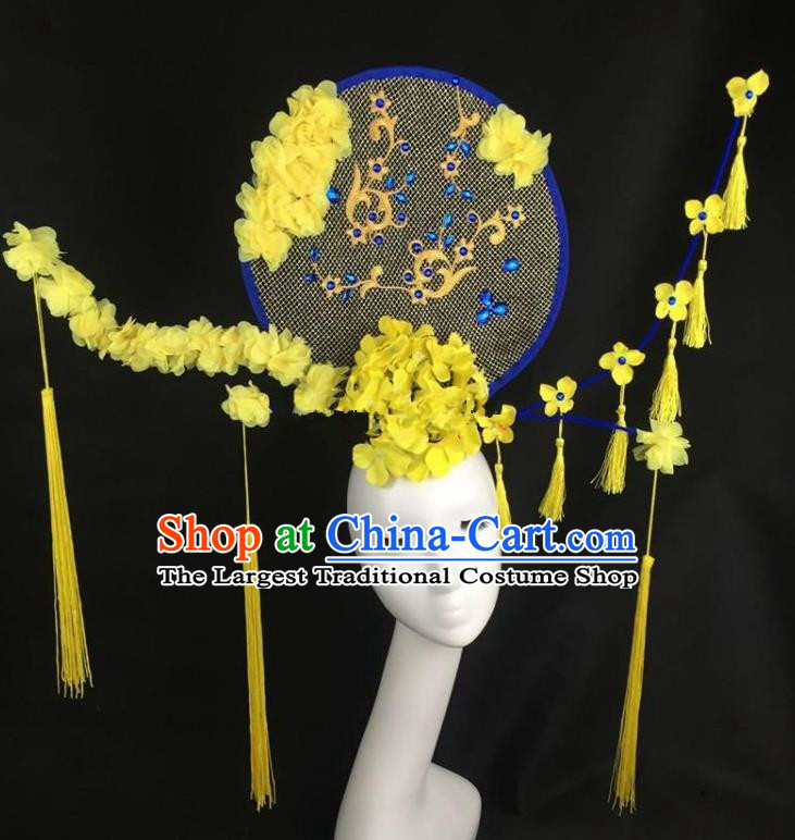 Chinese Traditional Exaggerated Headdress Palace Catwalks Winter Jasmine Hair Accessories for Women