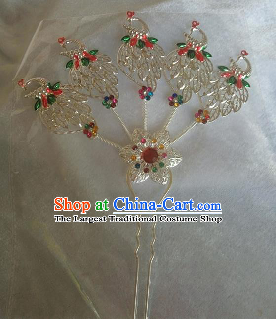 Chinese Ethnic Dai Nationality Hair Accessories Traditional Peacock Hairpins for Women