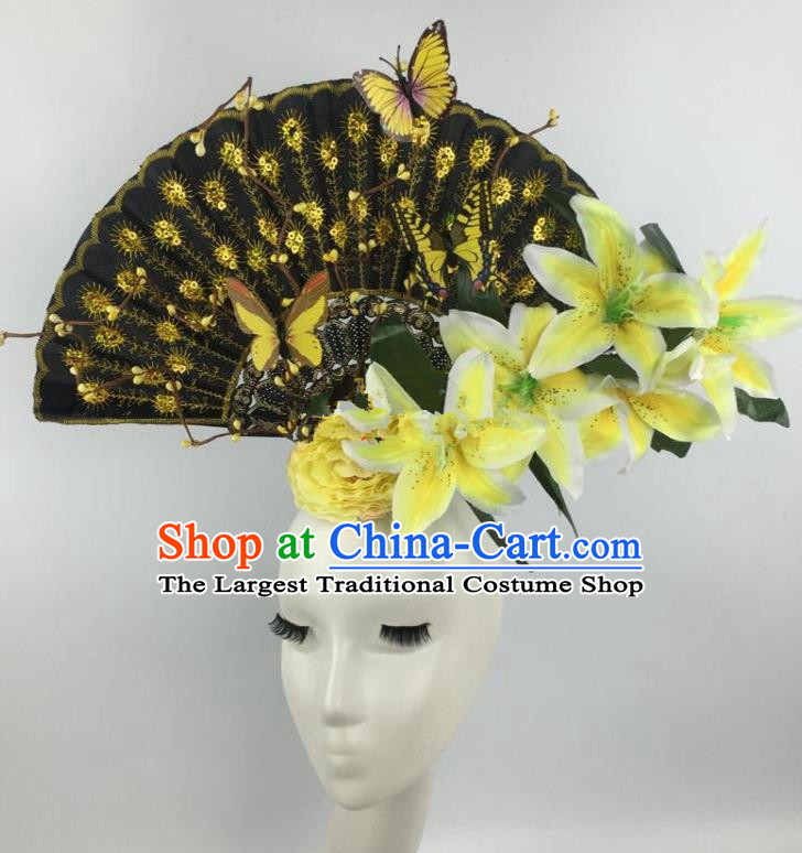 Chinese Traditional Exaggerated Headdress Palace Catwalks Yellow Lily Flowers Hair Accessories for Women