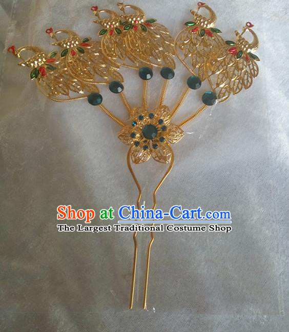 Chinese Ethnic Dai Nationality Hair Accessories Traditional Green Crystal Peacock Hairpins for Women