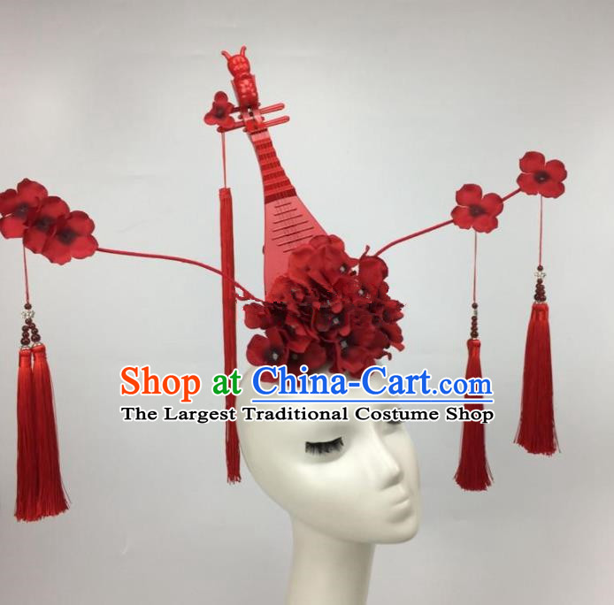 Chinese Traditional Exaggerated Headdress Palace Catwalks Red Flowers Lute Tassel Hair Accessories for Women