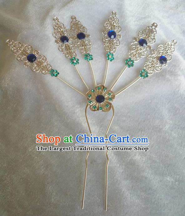 Chinese Ethnic Dai Nationality Hair Accessories Traditional Royalblue Crystal Hairpins for Women