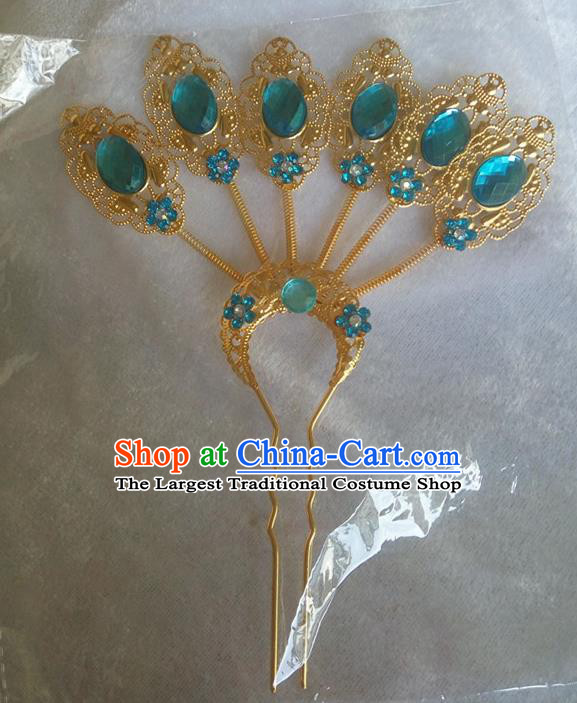 Chinese Ethnic Dai Nationality Hair Accessories Traditional Blue Crystal Hairpins for Women