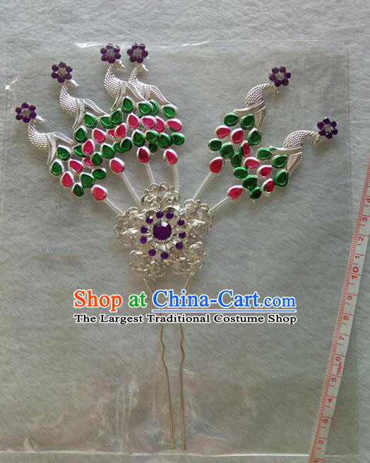 Chinese Ethnic Dai Nationality Hair Accessories Traditional Colorful Peacock Hairpins for Women