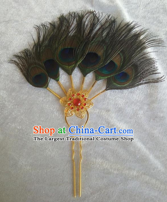 Chinese Ethnic Dai Nationality Hair Accessories Traditional Feather Hairpins for Women