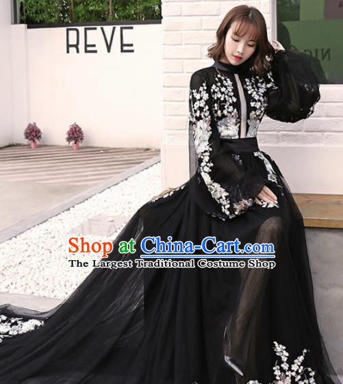 Top Grade Catwalks Costume Black Veil Full Dress for Women