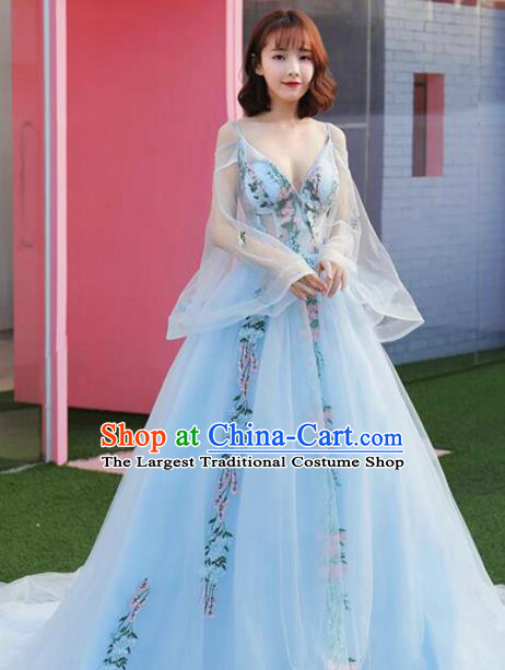 Top Grade Catwalks Costume Flowers Fairy Blue Veil Full Dress for Women