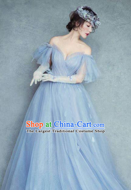 Top Grade Catwalks Costume Blue Veil Full Dress for Women