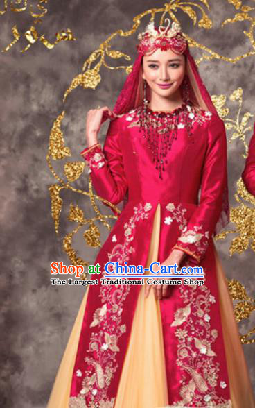 Chinese Ethnic Wedding Costumes Traditional Hui Nationality Bride Red Dress and Headpiece for Women
