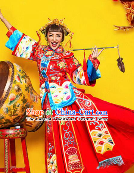 Chinese Ancient Wedding Costumes Traditional Bride Xiuhe Suit Red Clothing for Women