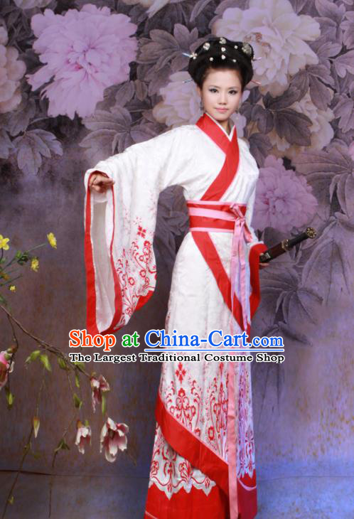 Chinese Ancient Swordswoman Costumes Traditional Han Dynasty Princess Hanfu Dress for Women