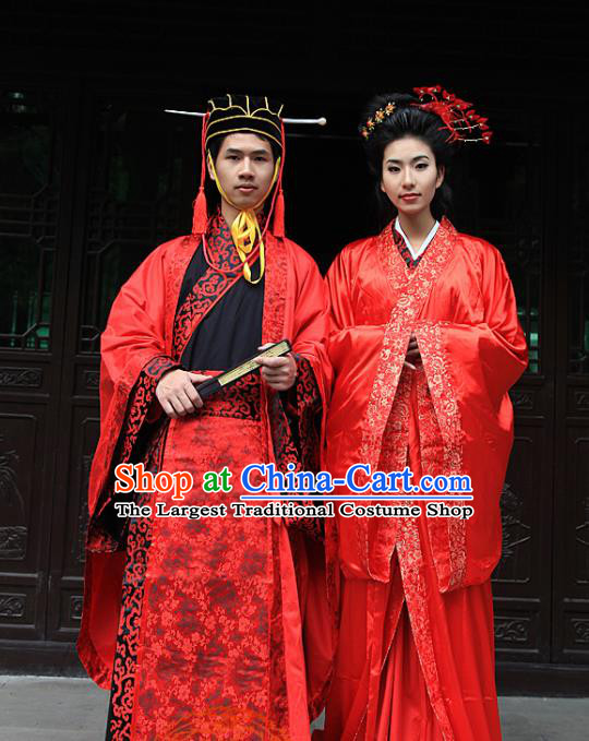 Chinese Ancient Wedding Costumes Traditional Han Dynasty Bride and Bridegroom Hanfu Clothing Complete Set
