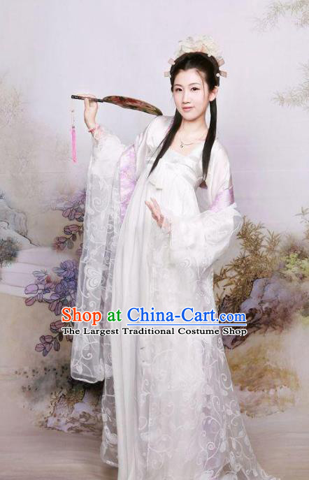 Chinese Ancient Royal Princess Costumes Traditional Tang Dynasty White Hanfu Dress for Women