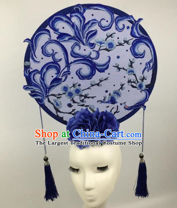 Chinese Traditional Exaggerated Palace Headdress Catwalks Embroidered Wintersweet Blue Hair Accessories for Women