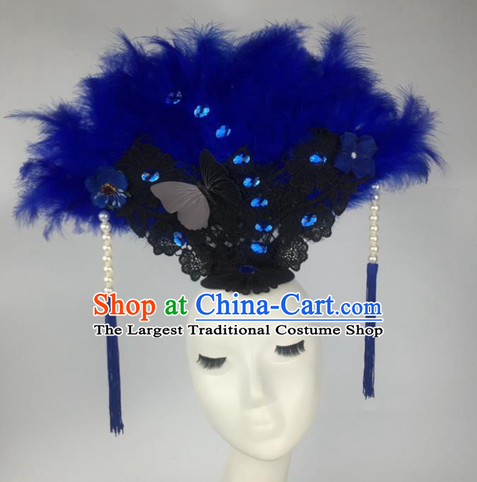 Top Grade Catwalks Hair Accessories Halloween Brazilian Carnival Blue Feather Headdress for Women