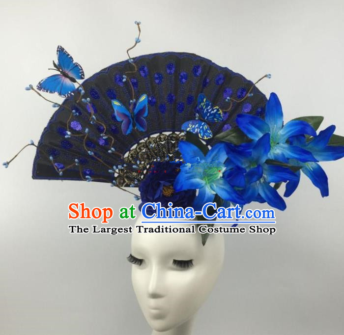 Chinese Traditional Catwalks Blue Lily Flowers Headdress Palace Exaggerated Hair Accessories for Women