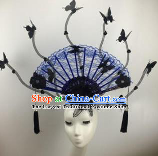 Chinese Traditional Catwalks Blue Lace Butterfly Headdress Palace Exaggerated Hair Accessories for Women