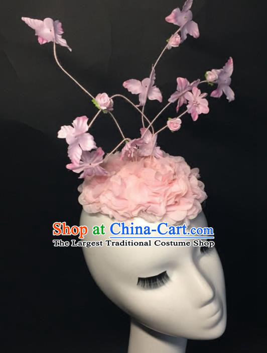 Top Grade Halloween Catwalks Headdress Brazilian Carnival Pink Silk Flowers Top Hat for Women