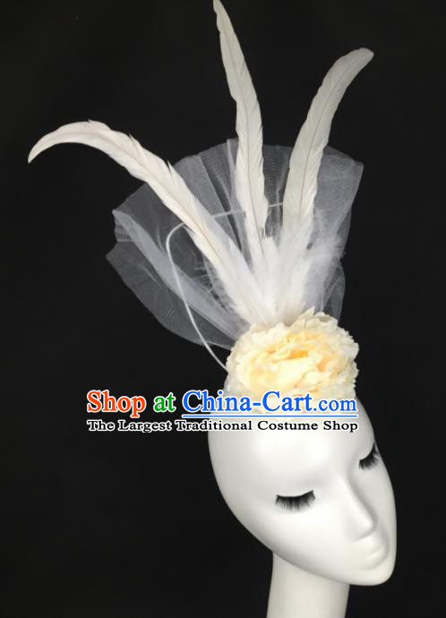 Top Grade Halloween Catwalks Headdress Brazilian Carnival White Feather Top Hat for Women