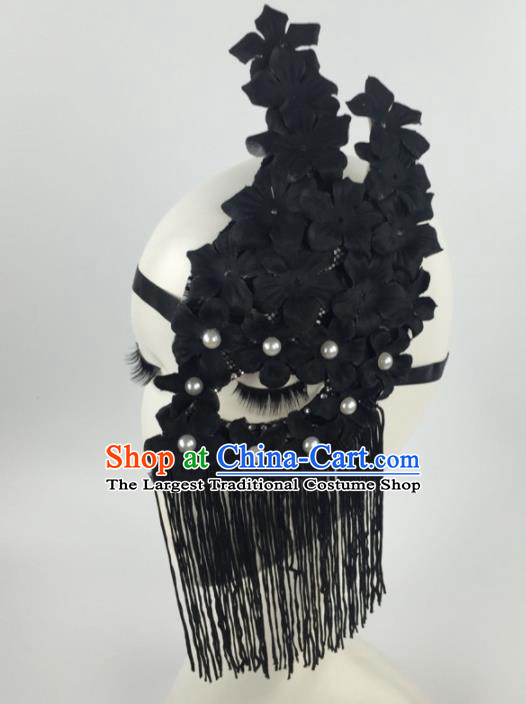 Halloween Exaggerated Accessories Catwalks Black Flowers Tassel Masks for Women