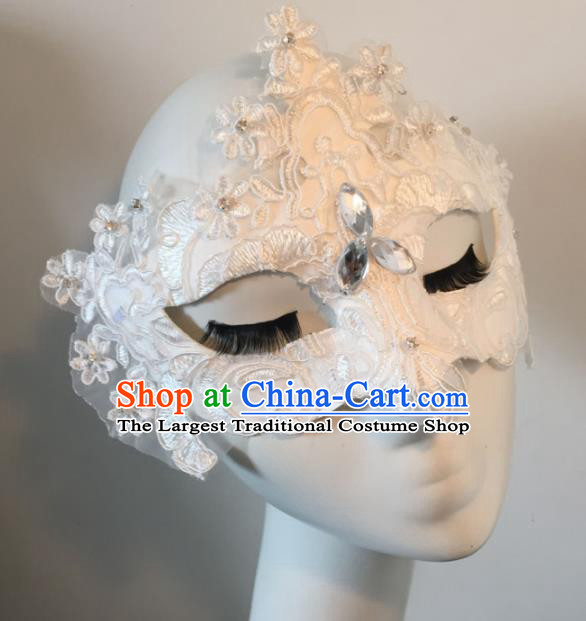 Halloween Exaggerated Accessories Catwalks White Lace Masks for Women