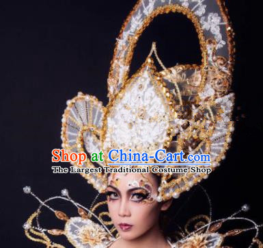 Top Grade Halloween Catwalks Headdress Palace Queen Hat Hair Accessories for Women