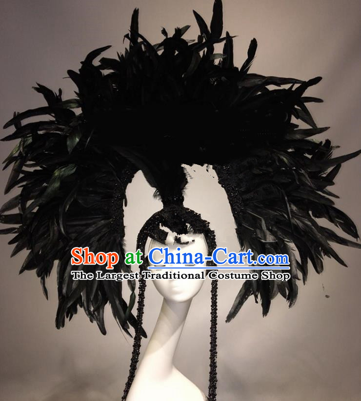 Top Grade Halloween Catwalks Hair Accessories Black Feather Headdress Baroque Hat for Women