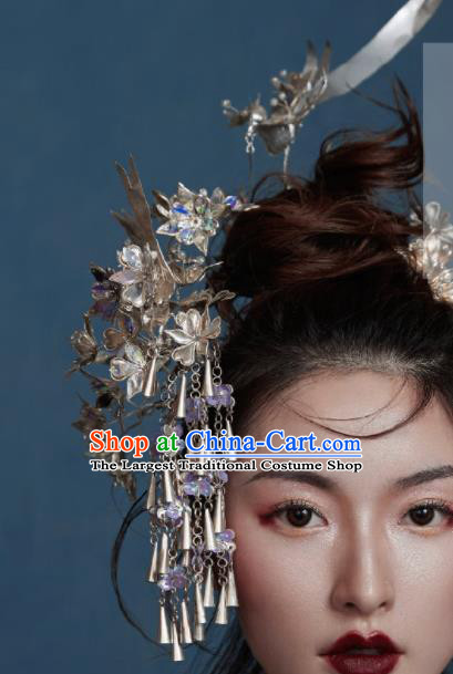 Chinese Traditional Ancient Bride Headdress Palace Tassel Hairpins Hair Accessories for Women