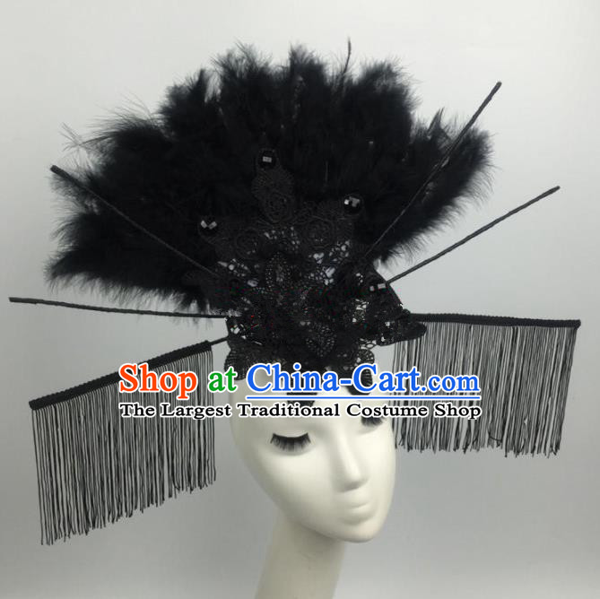 Top Grade Halloween Catwalks Black Feather Hair Accessories Brazilian Carnival Headdress for Women