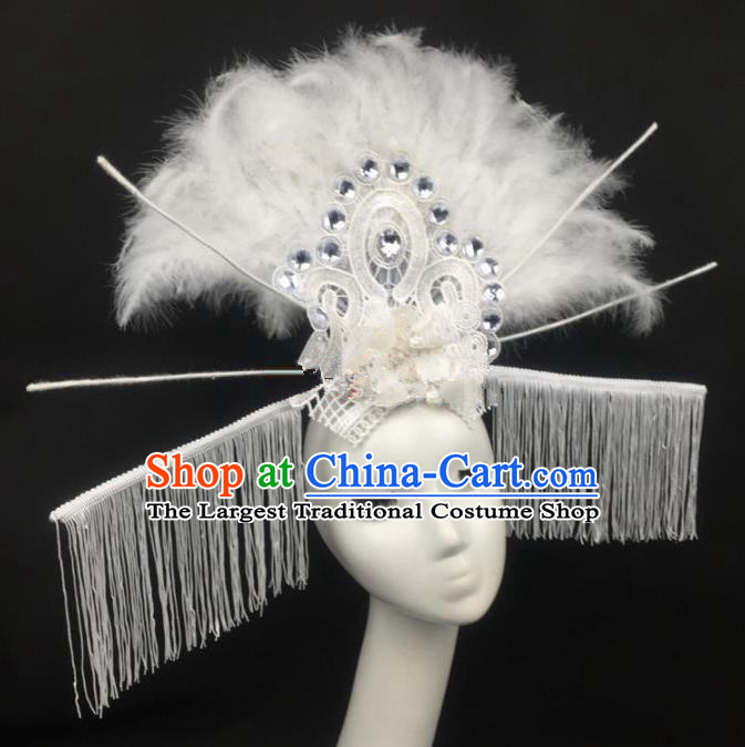 Top Grade Halloween Catwalks White Feather Hair Accessories Brazilian Carnival Headdress for Women