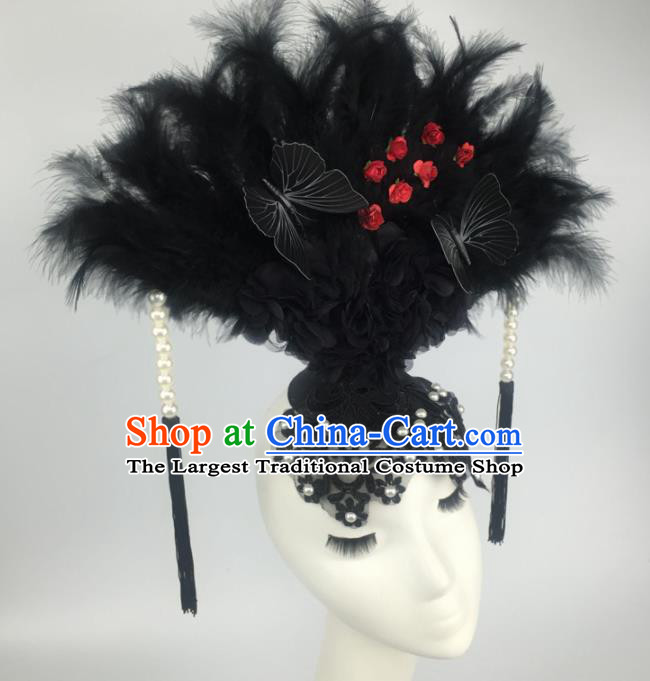 Top Grade Halloween Catwalks Hair Accessories Brazilian Carnival Black Feather Lace Headdress for Women