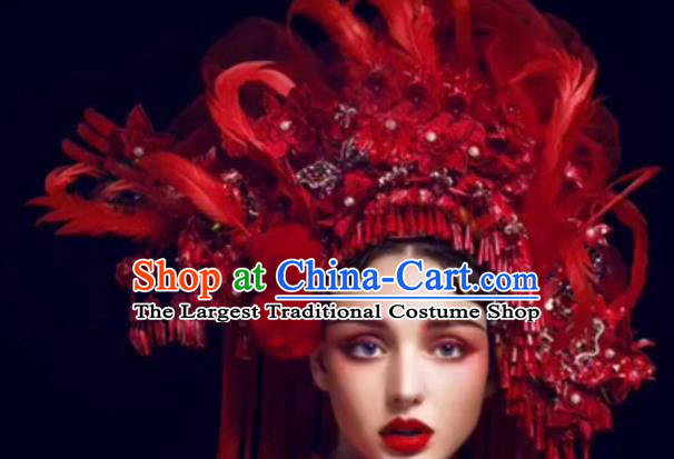 Top Grade Halloween Catwalks Hair Accessories Baroque Bride Red Feather Headwear for Women