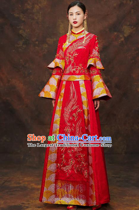 Chinese Traditional Wedding Red Costumes Ancient Bride Embroidered Xiuhe Suits for Women