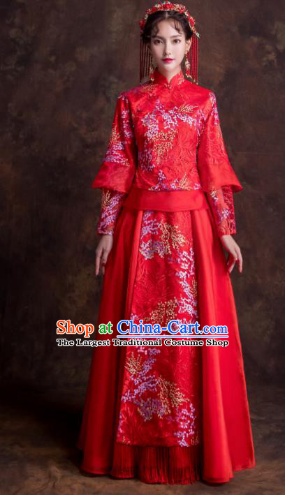 Chinese Traditional Wedding Costumes Ancient Bride Embroidered Dress Red Xiuhe Suits for Women
