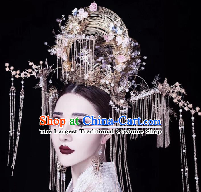 Chinese Traditional Ancient Phoenix Coronet Palace Wedding Hair Accessories for Women