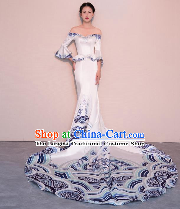 Top Grade Customized Wedding Dress Bride Trailing White Satin Full Dress for Women