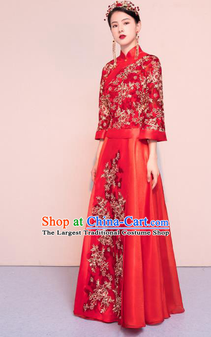Chinese Traditional Xiuhe Suits Ancient Bride Embroidered Wedding Dress for Women
