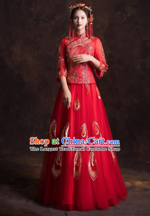 Chinese Traditional Embroidered Red Xiuhe Suits Ancient Wedding Dress for Women