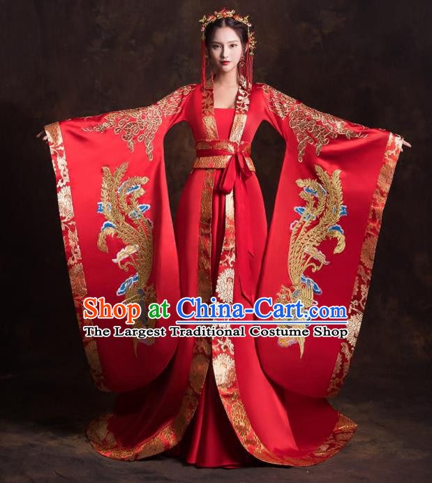 Chinese Traditional Ancient Imperial Consort Embroidered Wedding Dress for Women
