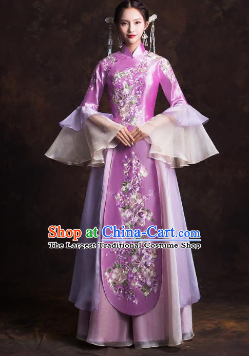 Chinese Traditional Purple Xiuhe Suits Ancient Bride Embroidered Wedding Dress for Women