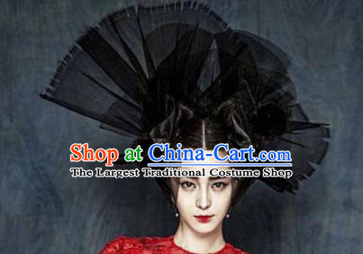 Top Grade Halloween Hair Accessories Gothic Catwalks Black Veil Top Hat for Women