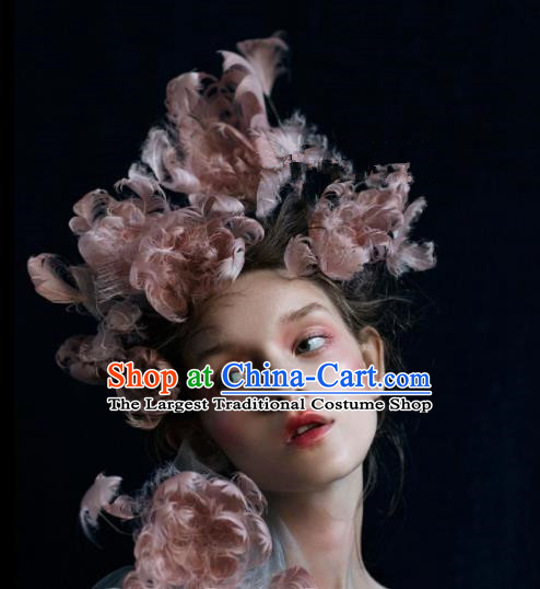 Top Grade Halloween Hair Accessories Gothic Catwalks Pink Feather Top Hat for Women