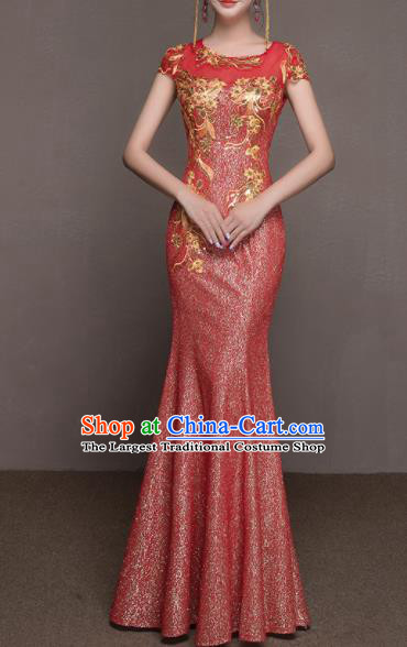 Top Grade Customized Wedding Dress Bride Red Full Dress for Women