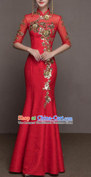 Top Grade Customized Wedding Dress Bride Red Cheongsam Dress for Women