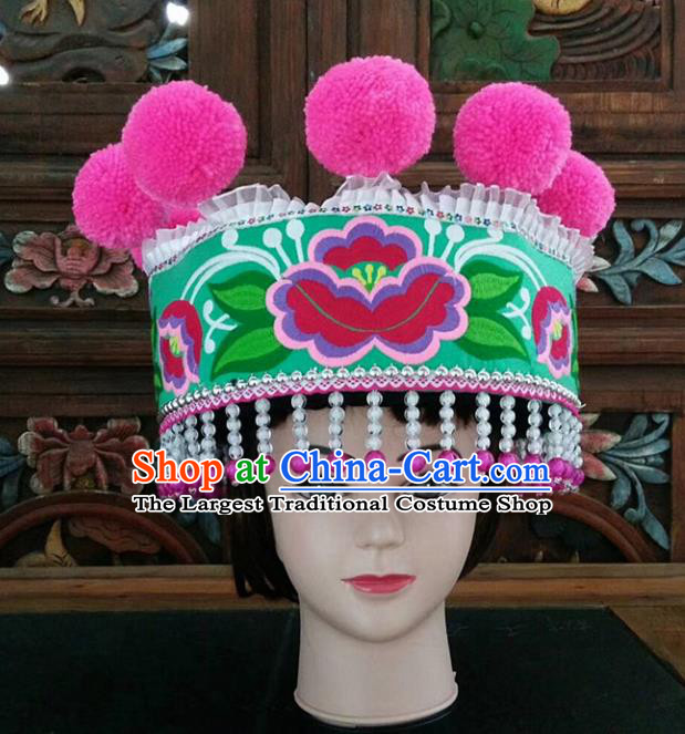 Chinese Traditional National Hat Ethnic Yi Nationality Embroidered Flowers Green Hat for Women
