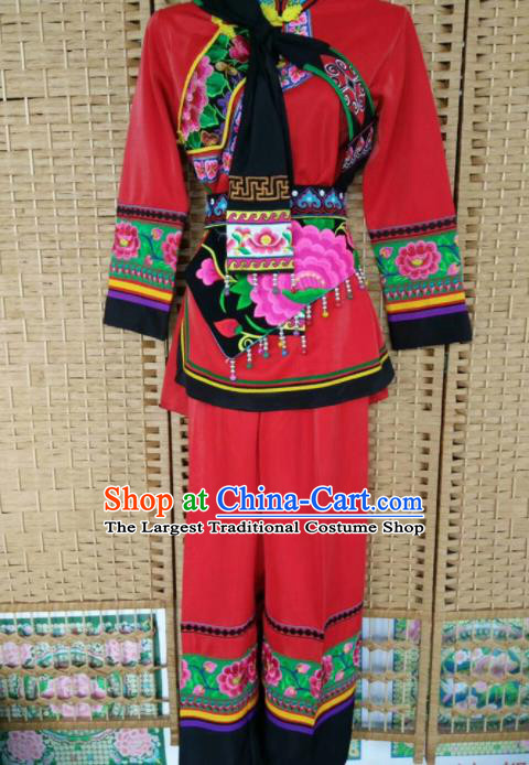 Chinese Traditional National Ethnic Costumes Yi Nationality Embroidered Red Clothing for Women