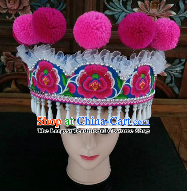 Chinese Traditional National Hat Ethnic Yi Nationality Embroidered White Tassel Hat for Women