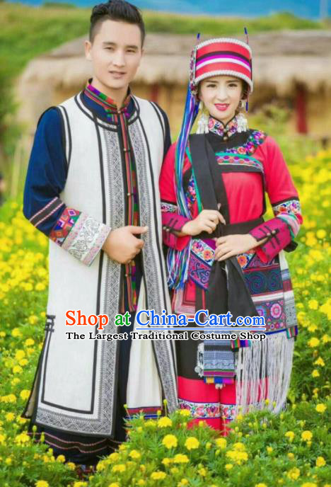Chinese Traditional National Ethnic Wedding Costumes Yi Nationality Bride and Bridegroom Embroidered Clothing